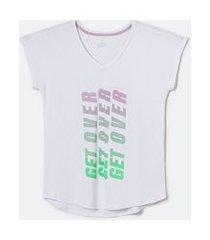 camiseta esportiva manga curta lisa estampa get over | get over | branco | g