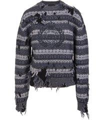 balenciaga woman destroyed round-neck sweater in grey wool