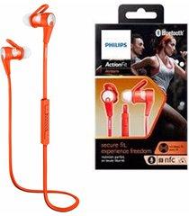 audífonos inalámbricos philips shq7300or/27 actionfit naranja