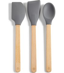 martha stewart collection 3-pc. beech wood utensil set, created for macy's