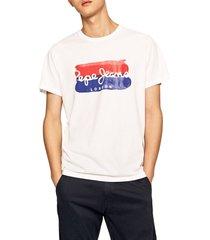 camiseta blanco-azul-rojo pepe jeans
