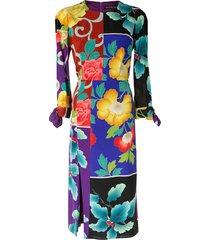etro floral patchwork dress - multicolour