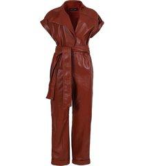cognac red leather jumpsuit