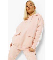 petite gestreepte oversized cargo hoodie, light pink