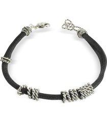 giacomo burroni designer men's bracelets, leather bracelet w/twisted rings