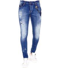 exclusieve slim fit jeans verfspatten