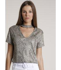 blusa feminina choker estampada animal print onça com lurex manga curta bege escuro
