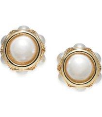 charter club gold-tone imitation pearl stud earrings, created for macy's