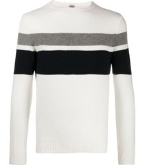 eleventy slim-fit stripe detail pullover - white