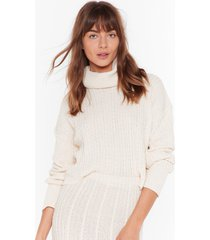 womens get knit together babe midi skirt - cream