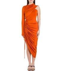 monse draped one-shoulder satin dress