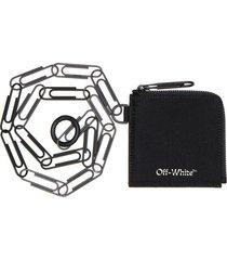 off-white logo zip chain wallet