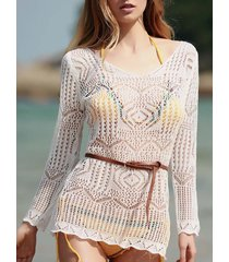 stylish long sleeve scoop neck hollow out women's cover-up