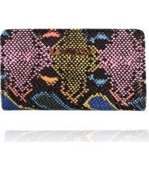 carteira campezzo couro snake colorido