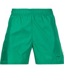 off-white printed-logo swim shorts - green