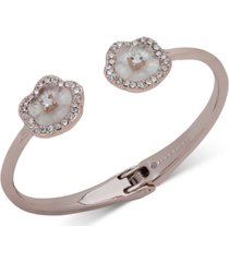 anne klein rose gold-tone crystal flower hinge bracelet, created for macy's