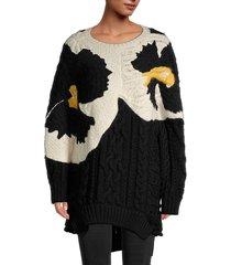 valentino women's maglia colorblock knit oversized sweater - black - size s