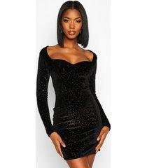 glitter velvet sweetheart neck mini dress, black