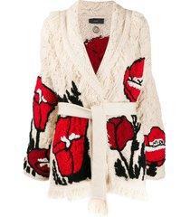 alanui belted poppy printed cardi-coat - neutrals