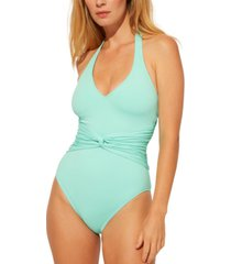 bleu by rod beattie plunge halter-style one-piece swimsuit women's swimsuit