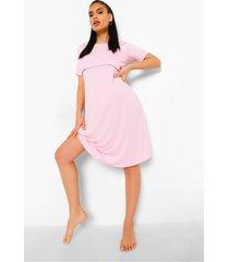zwangerschap borstvoeding nachtjapon met laagjes, pale pink
