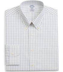 brooks brothers regent regular fit windowpane dress shirt, size 18 - 34 in white at nordstrom
