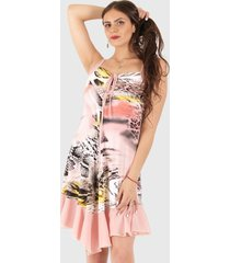 vestido margot casual rosa truhana