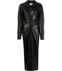 nanushka sami faux leather shirt dress - black