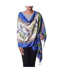 silk shawl, 'morning orchids' (india)