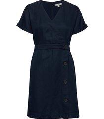linen tencel ss dress jurk knielengte blauw tommy hilfiger