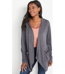 maurices womens gray textured hooded cardigan