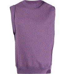 ader error asymmetric-draped knitted vest - purple