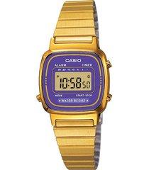 reloj vintage pequeño dorado con azul