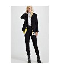 blazer de alfaiataria com lenço de viscose estampado preto - 38