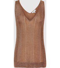 reiss alice - metallic knitted top in rose gold, womens, size xl