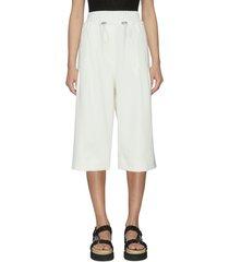 drawcord waist twill culotte shorts