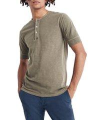 men's madewell garment dye henley t-shirt, size medium - green