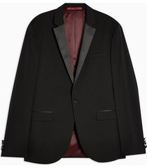 mens black tuxedo skinny fit single breasted suit blazer with notch lapels