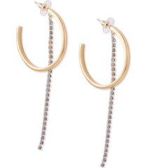 guess two-tone rhinestone chain c-hoop earrings