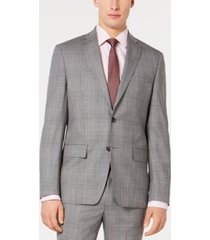 dkny men's modern-fit plaid suit jacket