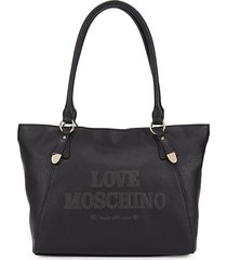 embossed logo faux leather tote