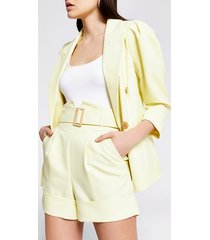river island womens yellow high corset belted waist shorts