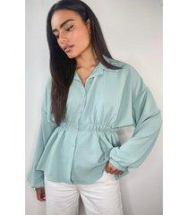 peplum blouse met gerimpelde taille, salie