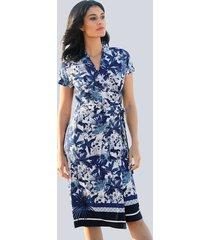 jersey jurk alba moda blauw::offwhite