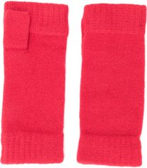 n.peal fingerless cashmere gloves - red