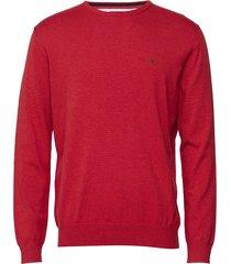 basic pullover r-neck stickad tröja m. rund krage röd park lane