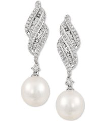 arabella cultured freshwater pearl (7mm) & cubic zirconia drop earrings in sterling silver, created for macy's