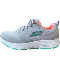 tenis skechers athletic mesh lace up overlays de mujer