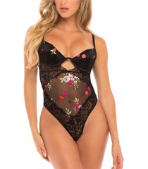 women's floral embroidery lingerie teddy with open back