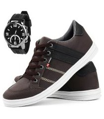 sapatênis casual cr shoes rebento café com relogio marrom